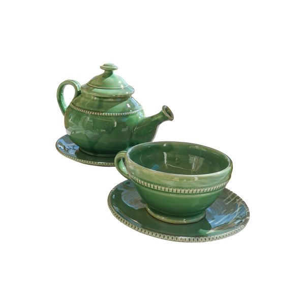 SET LIGHT GREEN TEAPOT AND TWO CUPS